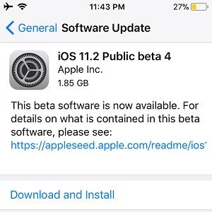 iOS 11.2 Public beta 4 Software Update.