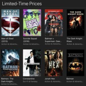 itunes dc movies sale