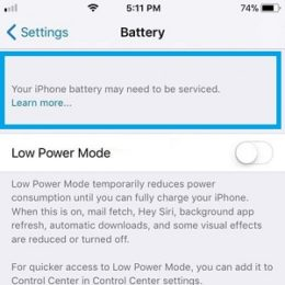 your iphone battery may need to be serviced info message