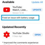 youtube ios update for battery bug