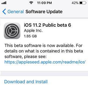 iOS 11.2 Public Beta 6
