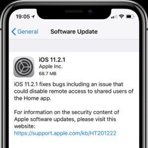 iOS 11.2.1 Software Update screen.
