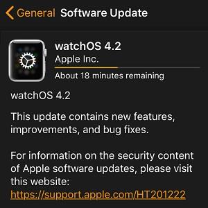 watchOS 4.2 software update
