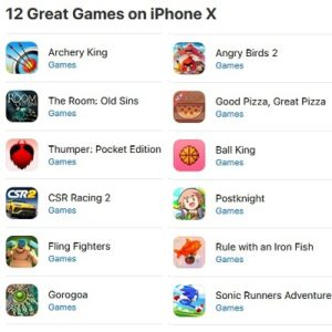 12 popular iPhone X App Store games.
