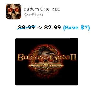 Baldur's Gate II: EE App Store sale.