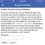 Facebook account deletion screen on iPhone.