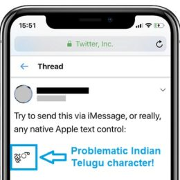 Indian Telugu character that crashes iPhones and iPads.