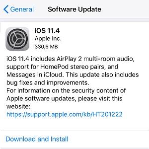 ios 11.4 software update screen