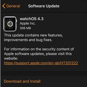 watchos 4.3 software update