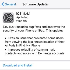 ios 11.4.1 software update screen