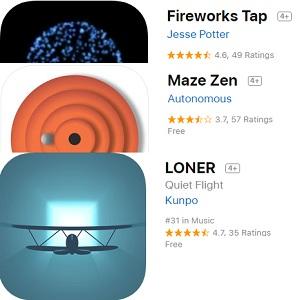 loner, fireworks tap, maze zen gone free