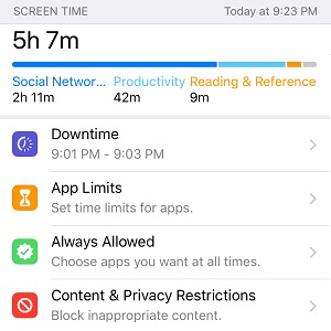ios 12 screen time info