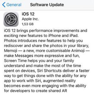 ios 12 software update