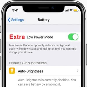 Extra Low Power mode iPhone shortcut.