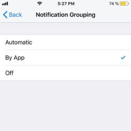 how to group notifications by app in ios 12
