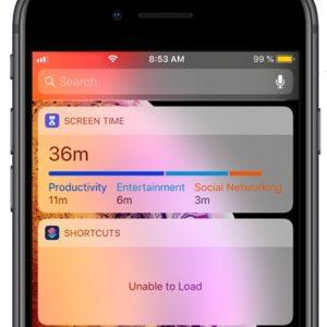 """iOS 12 """"Unable to Load"""" shortcuts widget error."""