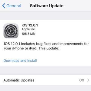 iOS 12.0.1 Software Update.