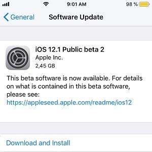 iOS 12.1 Public Beta 2 software update.