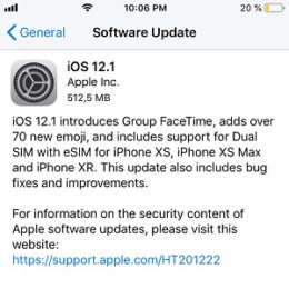 iOS 12.1 Software Update screen