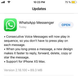 WhatsApp update for iPhone XS Max