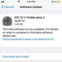 iOS 12.1.1 Public Beta 2