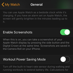 how to enable apple watch screenshots