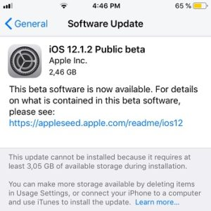 iOS 12.1.2 Public Beta Software Update