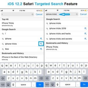 ios 12.2 safari blue arrows targeted search feature
