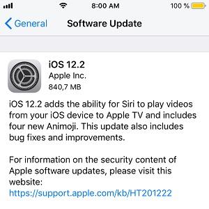 iOS 12.2 software update
