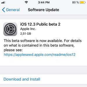 ios 12.3 public beta 2 software update screen