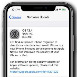 iOS 12.4 Software Update Screen.
