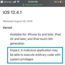 iOS 12.4.1 Security Update