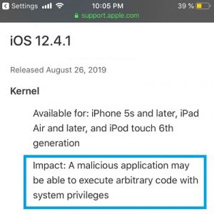 iOS 12.4.1 Security Update