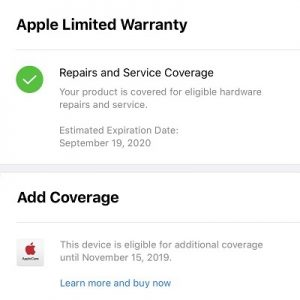 apple limited warranty showing up instead of applecare+