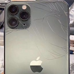 iPhone 11 Pro Max with broken glass.