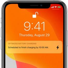 Optimized Battery Charging lock screen notification