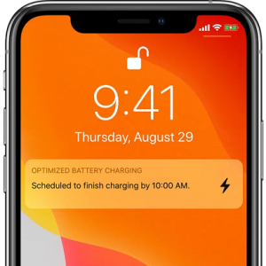 Optimized Battery Charging lock screen notification