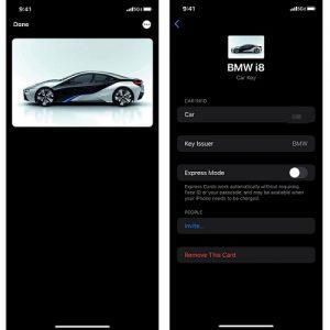 alleged iOS 14 iPhone CarKey interface