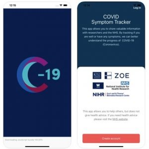 COVID Symptom tracker app for self-reporting health status