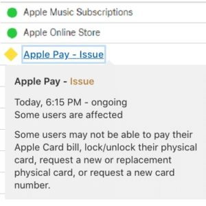 Apple Pay ongoing issue reported in System Status support page