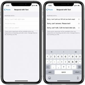 How to customize quick responses of the respond with text iPhone feature