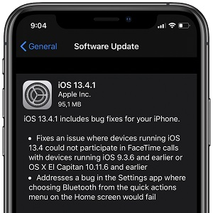 iOS 13.4.1 Software Update screen