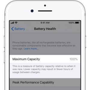 iPhone 8 displaying 100% Battery Health