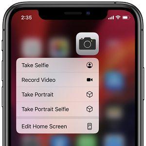 iPhone Camera shortcut for Portrait Selfie mode