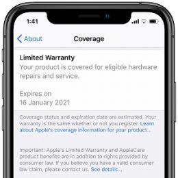 iPhone displaying Warranty status in settings menu