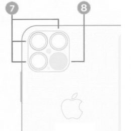 Sketch of alleged iPhone 12 pro main camera module with triple-lens and LiDAR scanner