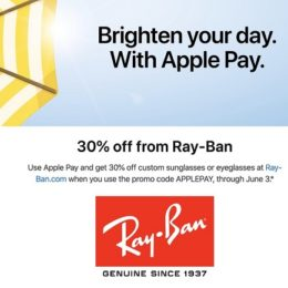 Apple Pay 30% promotion for Ray-Ban glasses