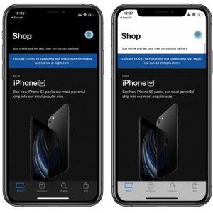 Apple Store app for iOS Dark vs Light Mode