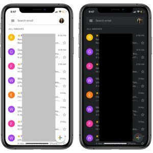 Gmail for iOS with Light and Dark Mode