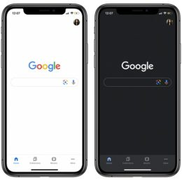 Google search app for iOS Light vs Dark Mode